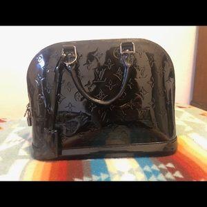 Louis Vuitton Monogram Vernis Alma Handbag Black